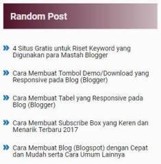 Widget Random Post Responsive dengan Tanpa Thumbnail
