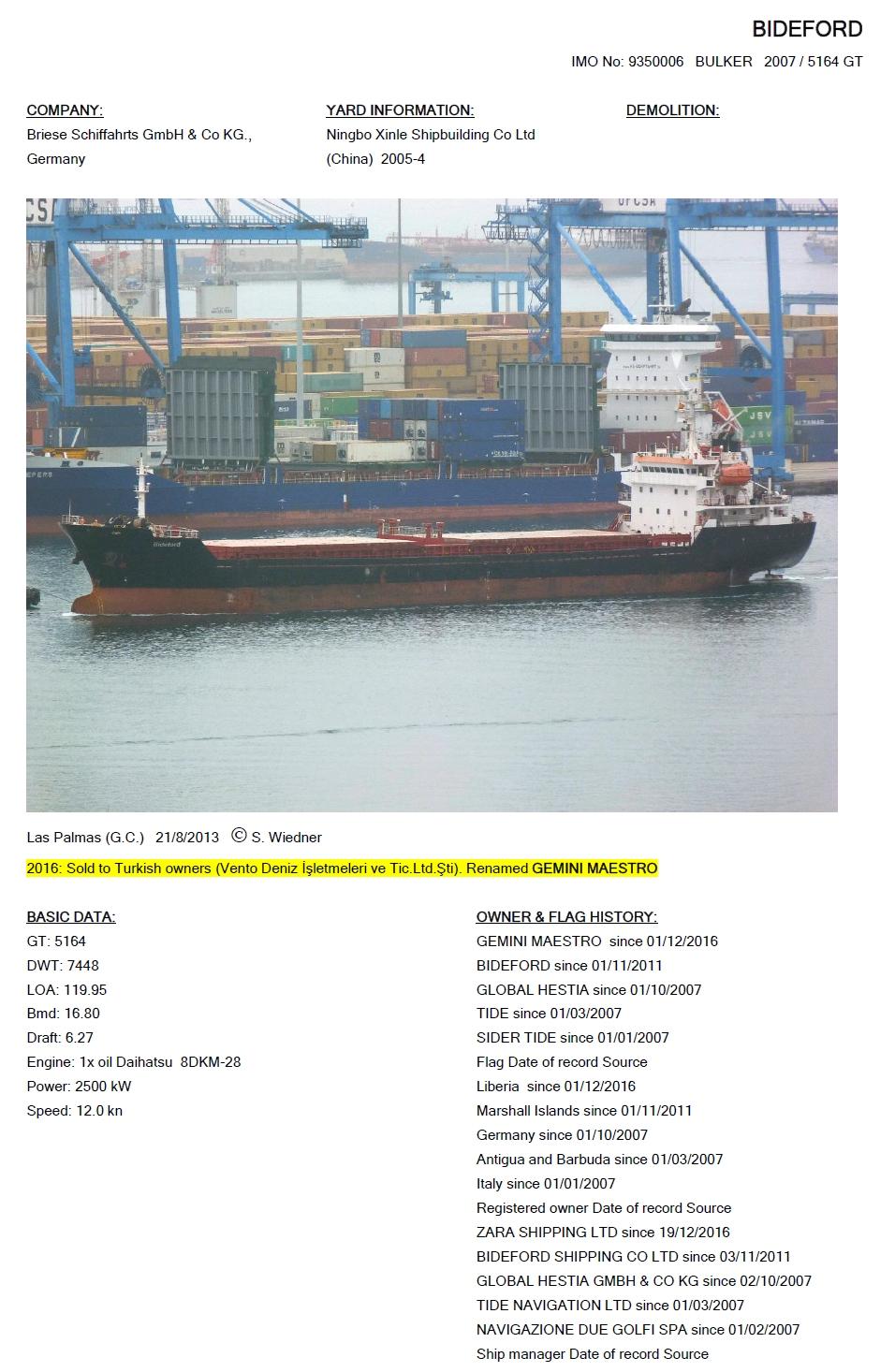 Cargo Vessels International Non Commercial Shipping Research 282500 Bideford Imo 9350006 2007 5164 Gt 7448 Dwt Ningbo Xinle 2005 4 Daihatsu 8dkm 28 2500 Kw Gemini Maestro 2016 2011 16 Global