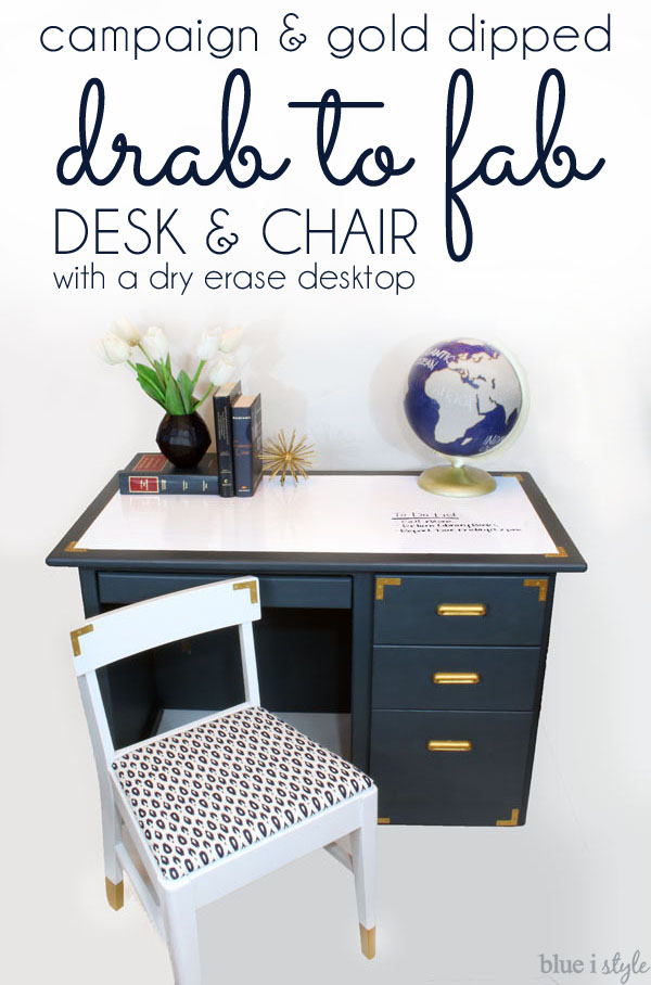 Campaign and Gold Dipped Desk Chair Makeover
