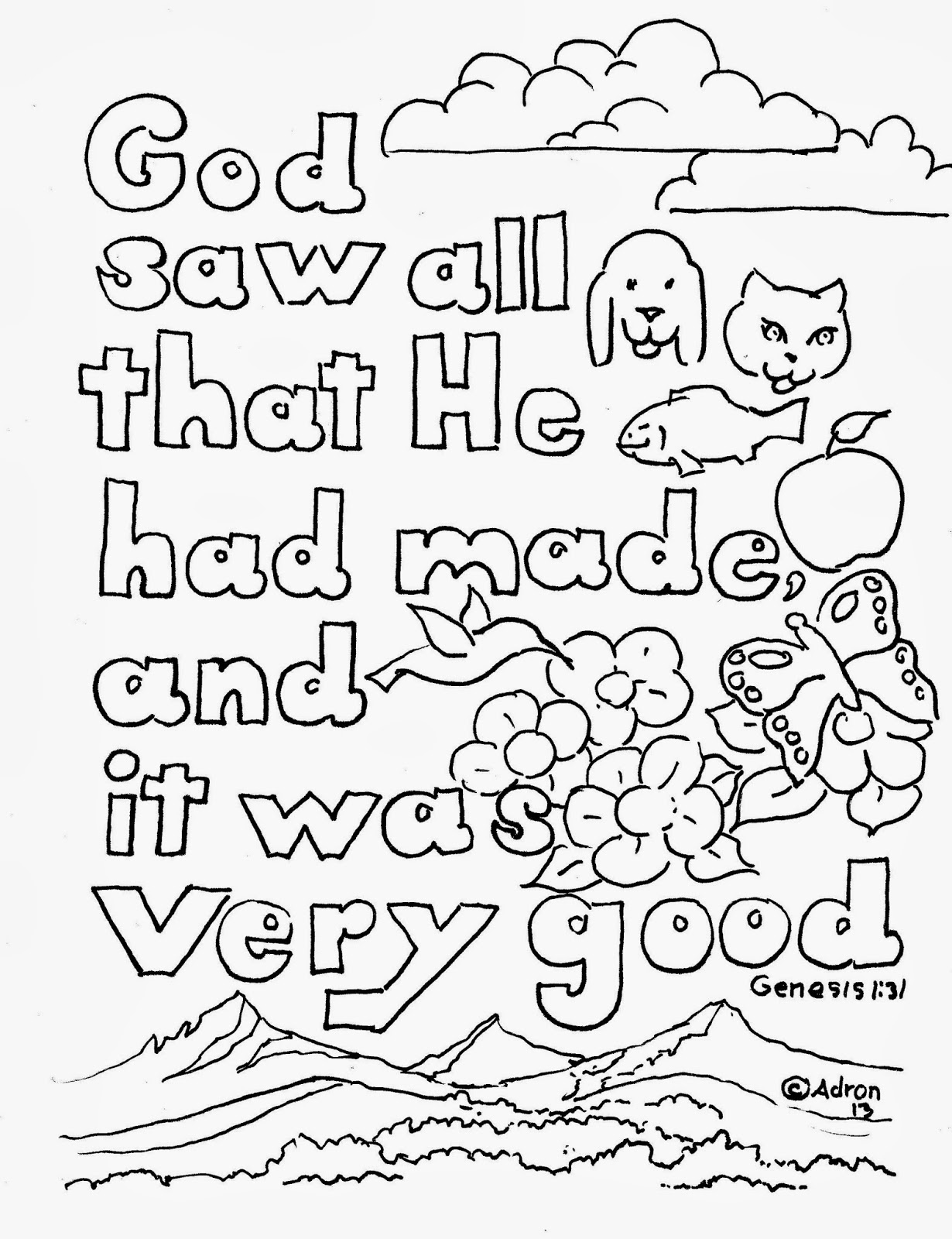 Coloring Pages For Kids By Mr Adron Genesis 1 31 Print