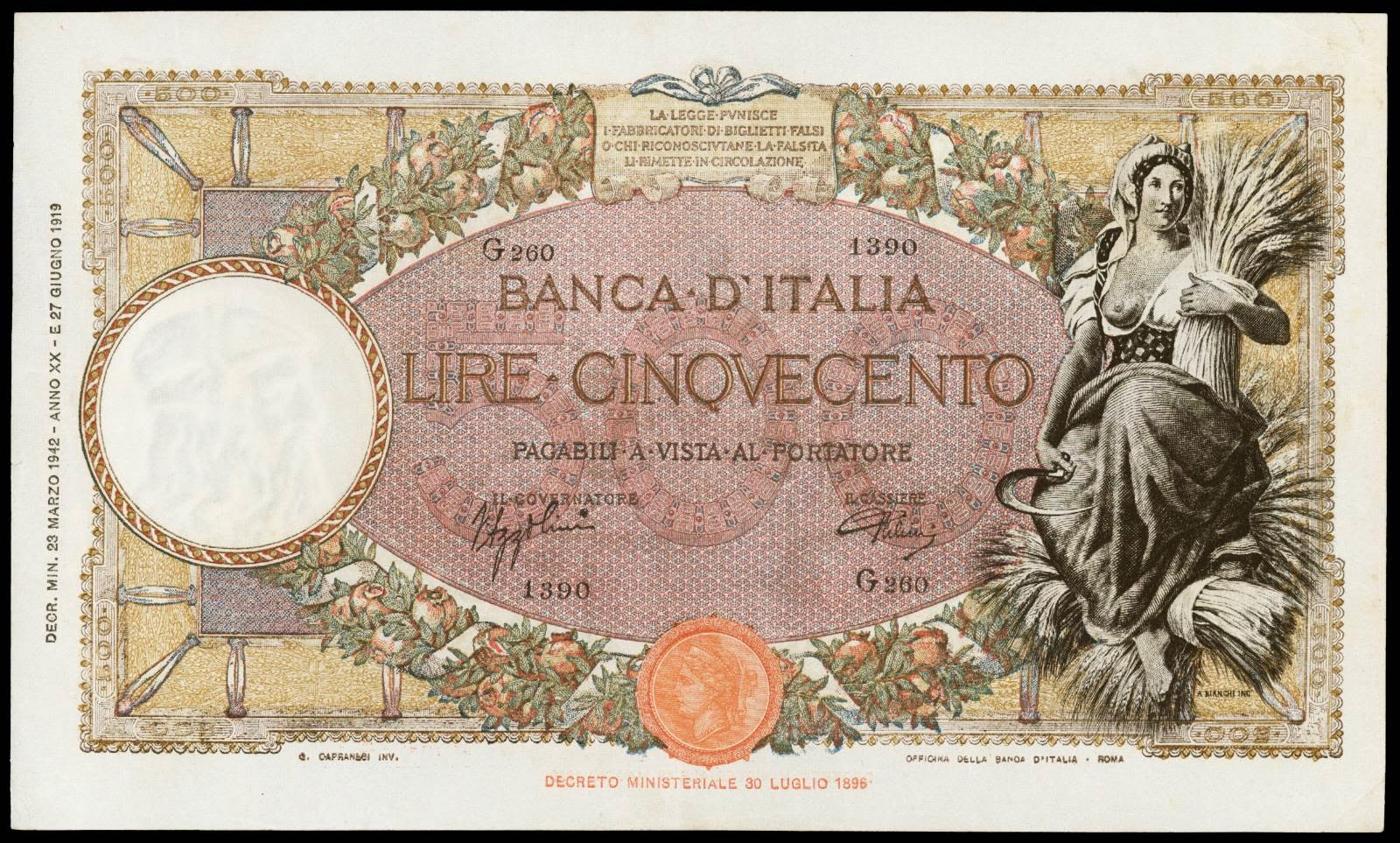Italy currency 500 Lire 1942