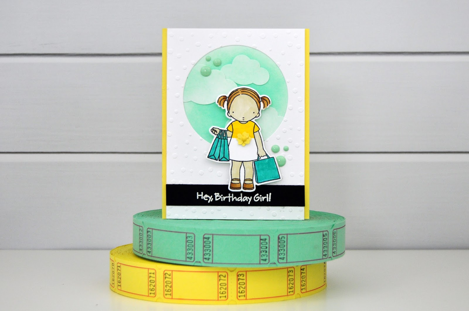 Happy Birthday Shopping Girl Card from My Favorite Things and www.jengallacher.com #stamping #diecutting #mft