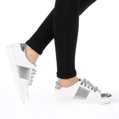 Pantofi sport dama Tarina albi cu sireturi argintii