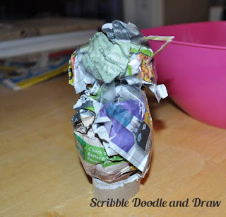 kids crafts paper mache love bird roll two balls of newspaper