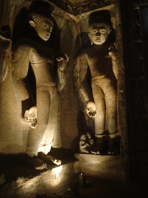 Two of the Buddhas of the past - from Ajanta cave 4 antechamber