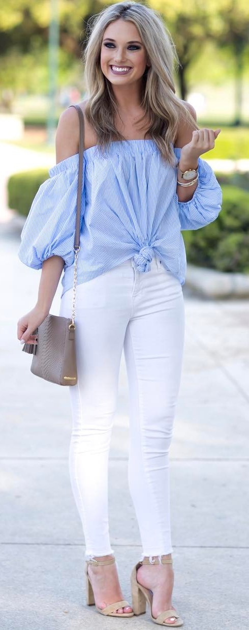 perfect outfit: off shoulder top + skinnies + bag