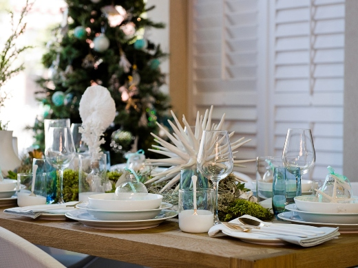 White Blue Green Coastal Beach Theme Table Top Decor Setting Entertainment Idea