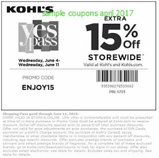 free Kohls coupons april 2017