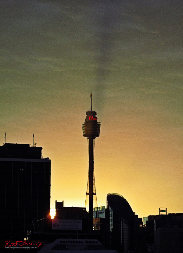 Sydney Tower the tall needle formerly know as Centrepoint at Sunset. Photographed by Kent Johnson.