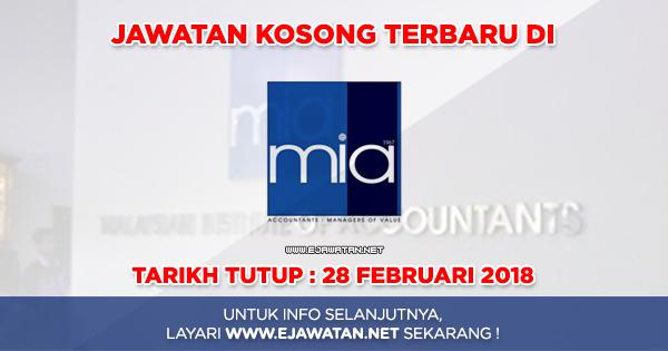 jawatan kosong Institut Akauntan Malaysia (MIA) 2018