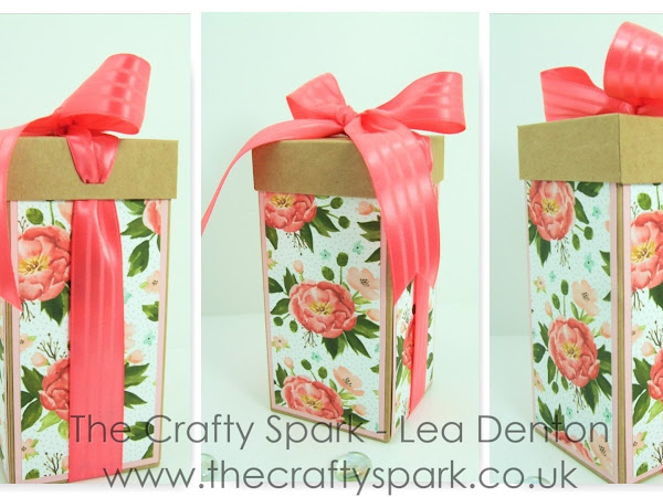 Tall Ribbon Box using Birthday Bouquet Paper as seen in the Crafty Cupcakes Blog Hop