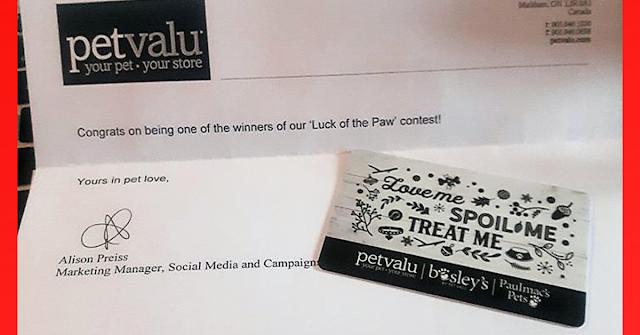 Pet Valu Prize Won