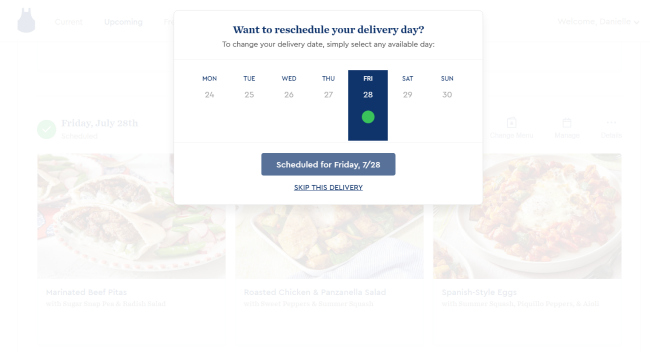 Blue Apron allows you to skip deliveries each week or change the day of delivery.