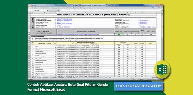 Contoh Aplikasi Analisis Butir Soal Pilihan Ganda Format Microsoft Excel