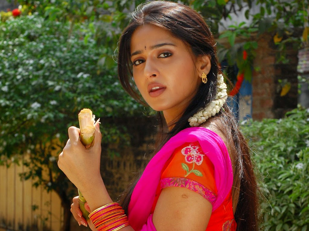 Anushka Shetty Hot Big Face Stills In Red Dress