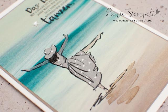 Stampin' Up! Karte Stempelset Mit Stil Beautiful You DSP DEsignerpapier gemustertes Papier Stille Natur Technik Anleitung doppelt gestempelt ausgeschnitten Meer Strand Ozean maritim