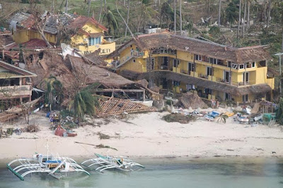 Typhoon Haiyan damage on Malapascua, Philippines