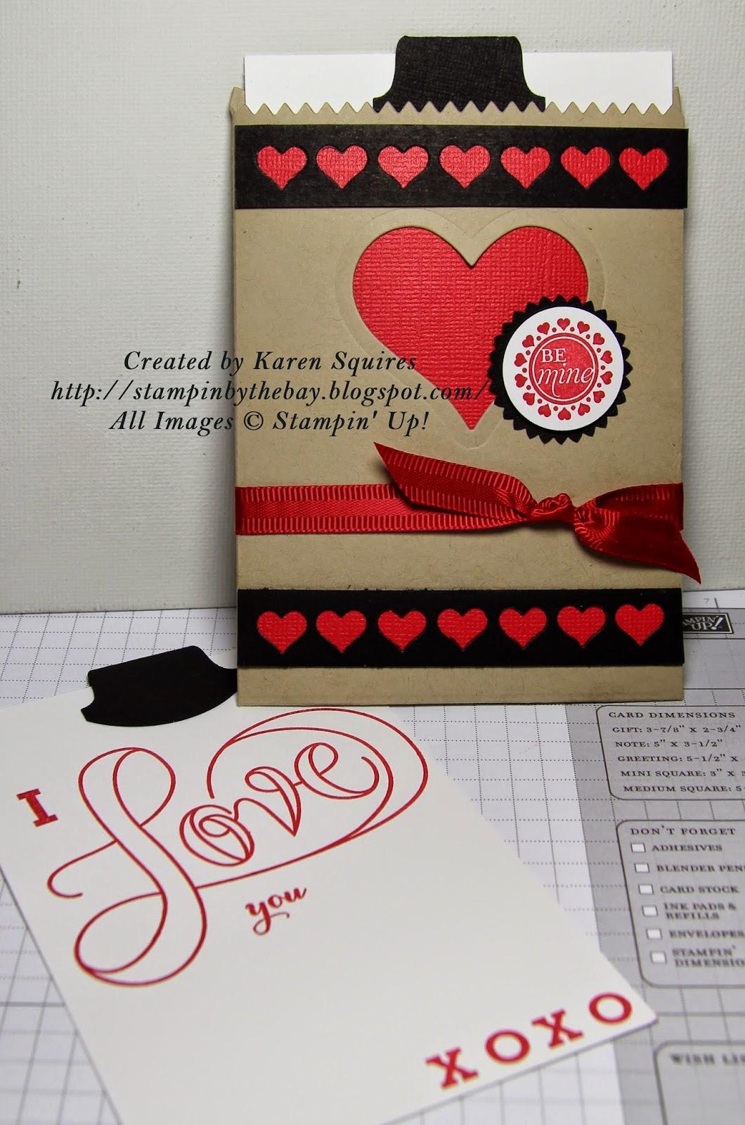stampin'the bay mini treat bag cards  valentine