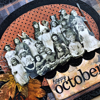 Sara Emily Barker https://sarascloset1.blogspot.com/2018/10/happy-october.html Tim Holtz Stampers Anonymous Sizzix Alterations Ideaology Halloween Autumn Card 2