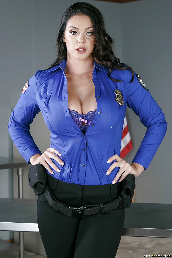 Alison Taylor removing police uniform for nude photos