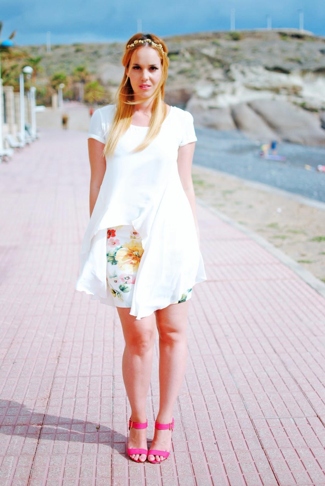 nery hdez, inlovewithfashion, floral print,primark tenerife, blonde, floral skirt, estampado de flores