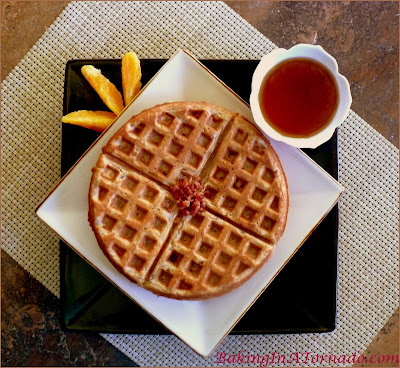 Coffee and Bacon Wake Up Waffles: all the flavors of breakfast in a light and crispy waffle | Recipe developed by www.BakingInATornado.com | #recipe #breakfast