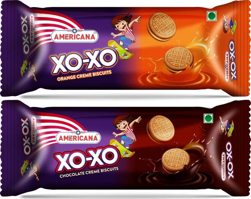 अमेरिकाना XOXO ऑरेंज क्रीम और अमेरिकाना XOXO चॉकलेट क्रीम बिस्कुट