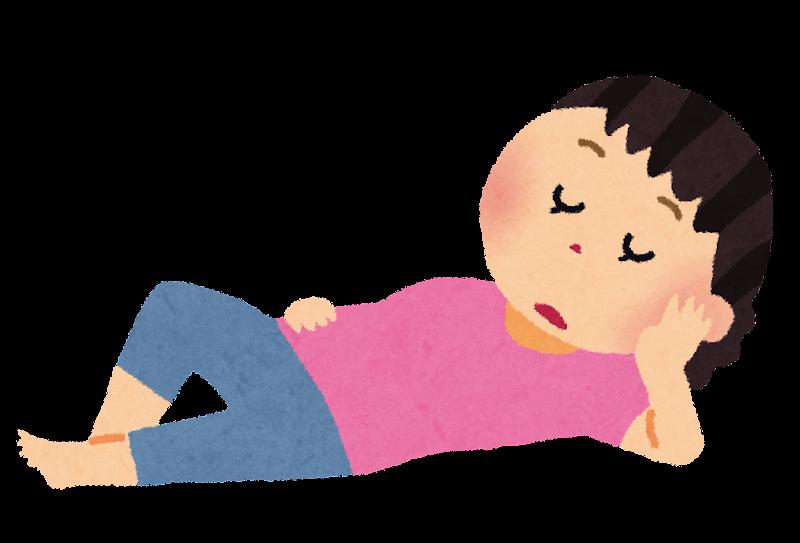 無料イラスト かわいいフリー素材集: ぐーたら寝ている女性のイラスト