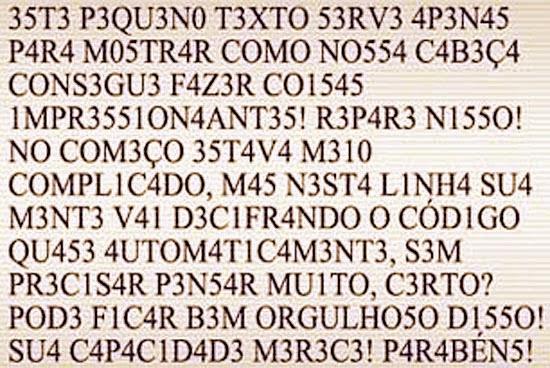 Texto de letras trocadas e misturadas com números