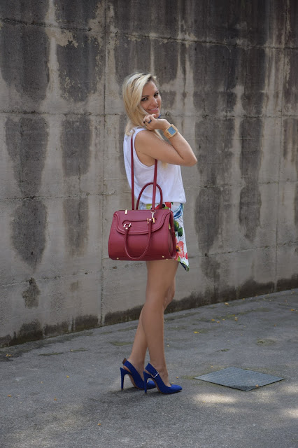 outfit scarpe blu come abbinare le scarpe blu how to wear blue heels how to combine blue heels scarpe sling back sling back heels mariafelicia magno fashion blogger colorblock by felym outfit luglio 2016 outfit estivi summer outfits july outfits fashion blogger italiane fashion bloggers italy influencer italiane italian influencer