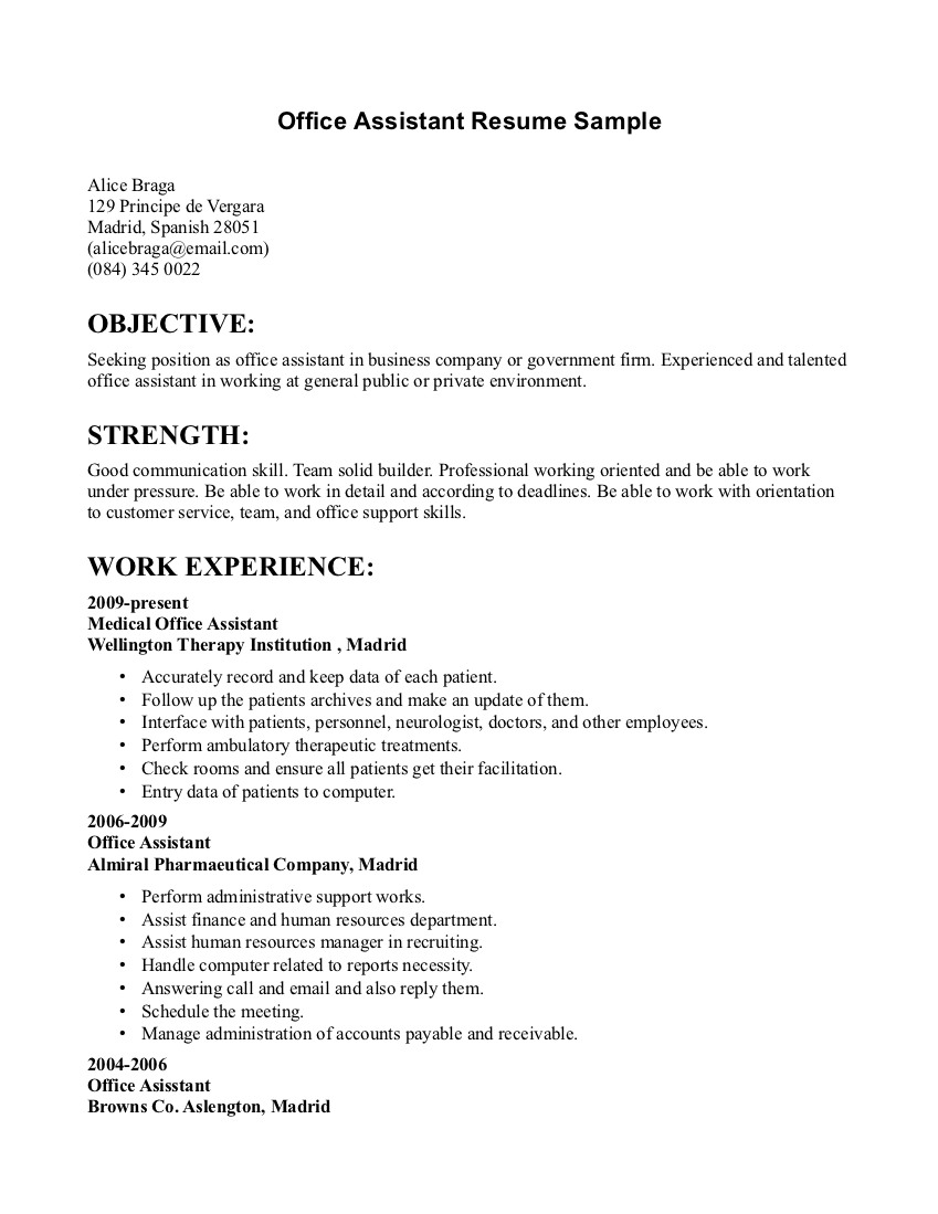 Clerical Office Assistant Free Resume Sampe Essay On Fhrai Sample