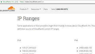 Cloudflare provides a list of IPv4 and IPv6 Addresses to whitelist
