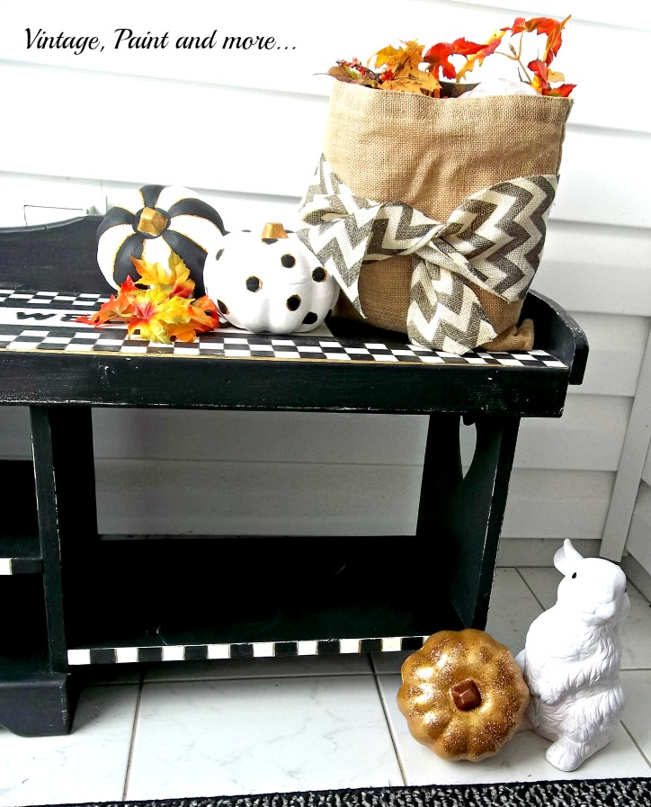 Vintage, Paint and more... Dollar Tree pumpkins painted with black and white stripes and polka dots