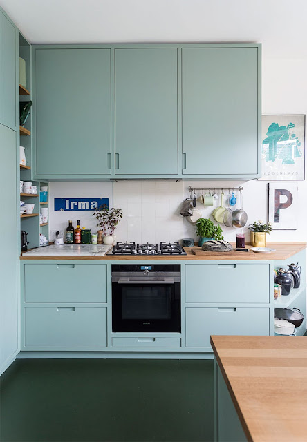 Love the green cabinetry in this kitchen- design addict mom