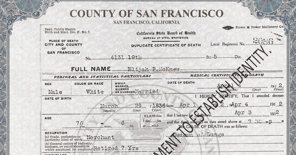 Genea Musings Source Citation For A California County Death Certificate