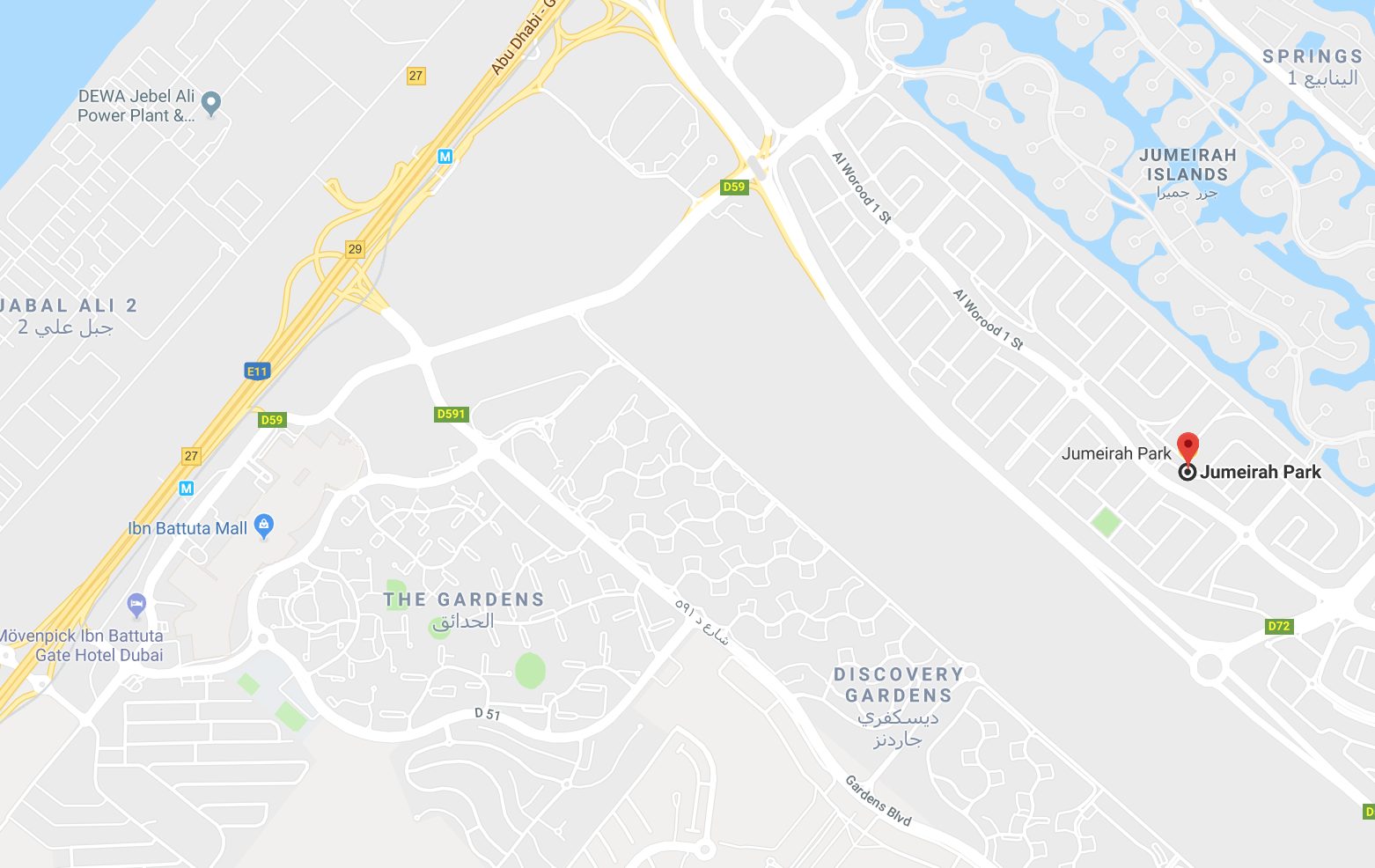 Location Map - Jumeirah Park Dubai on
