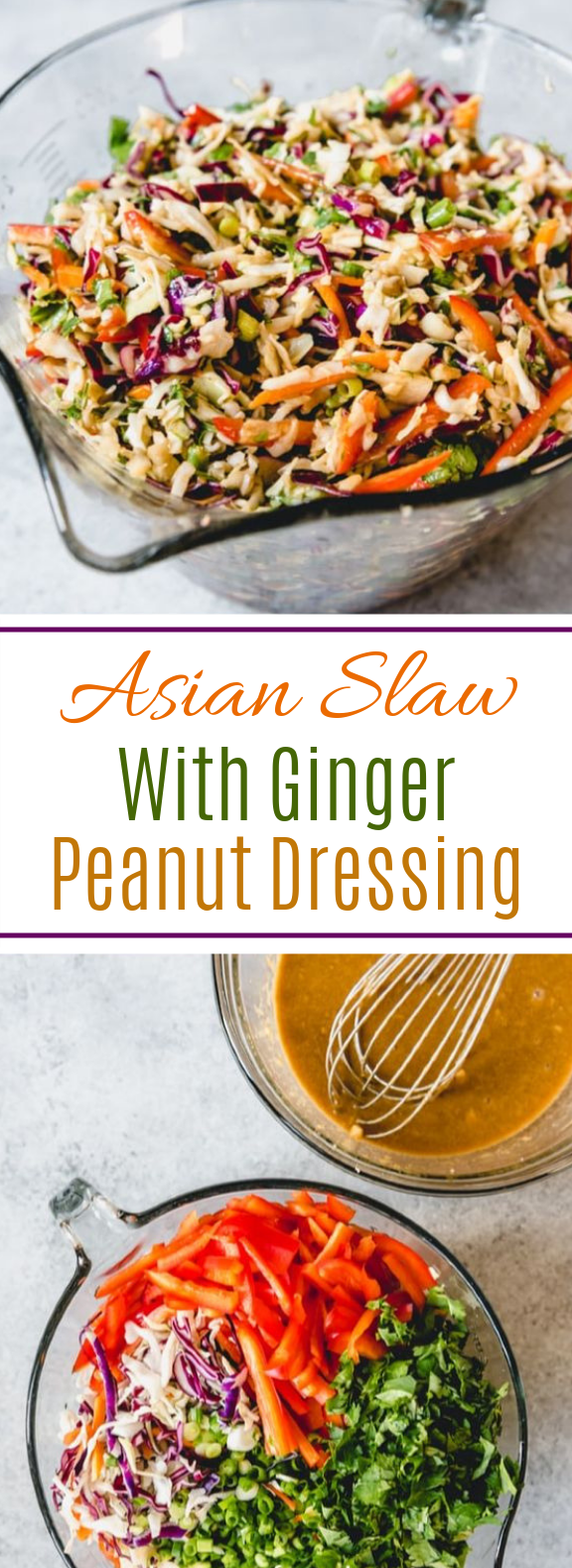 Asian Slaw with Ginger Peanut Dressing #vegetarian #sidedish