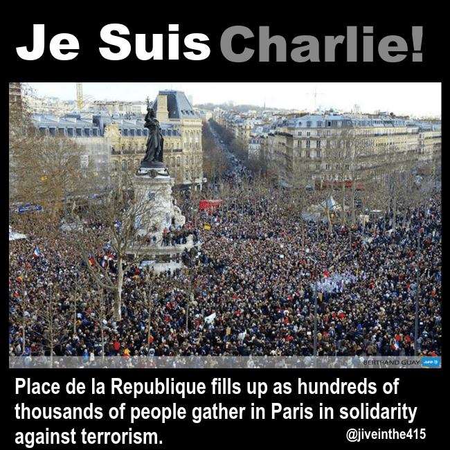 Hundreds of thousands of people gather in solidarity against terrorism in Place de Republique Paris France on January 11, 2015.