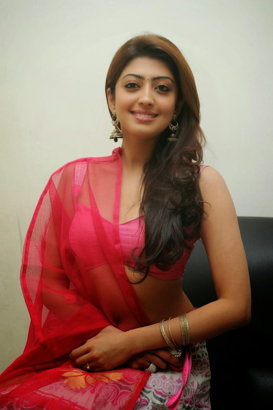 Pranitha Subash Hot Navel Show, Pranitha Sexy Cleavage In Pink-8110