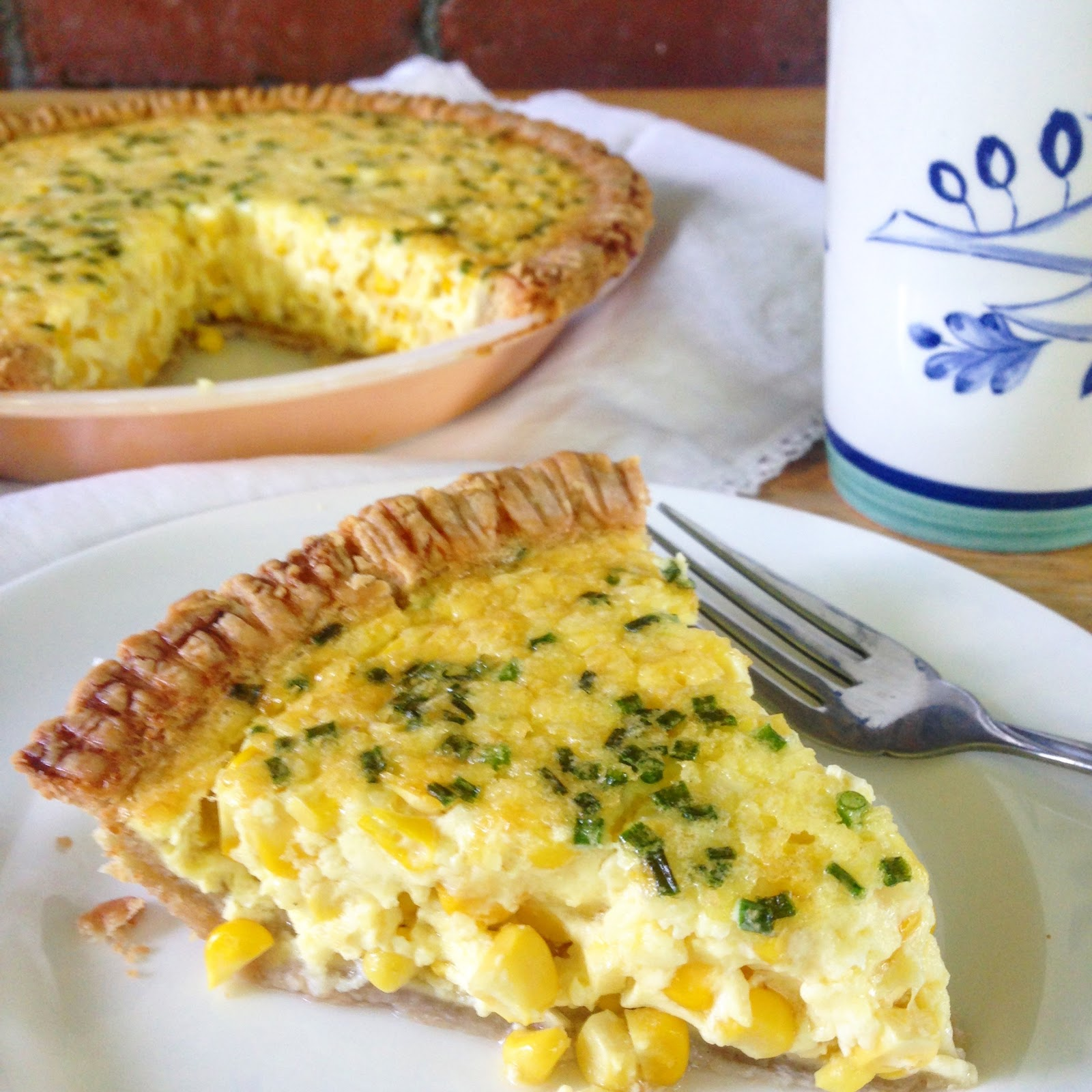 fresh corn quiche with chives