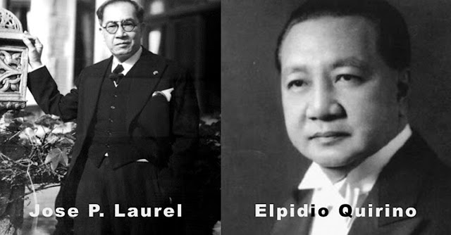 Dr. Jose P. Laurel of Batangas (left) and President Elpidio Quirino.  Both photos in the public domain.