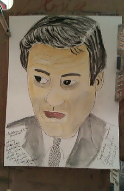 Japanese Minister sketch by Gloria Poole of Missouri, but I drew this in Colorado zip code 80203 when I lived there.
