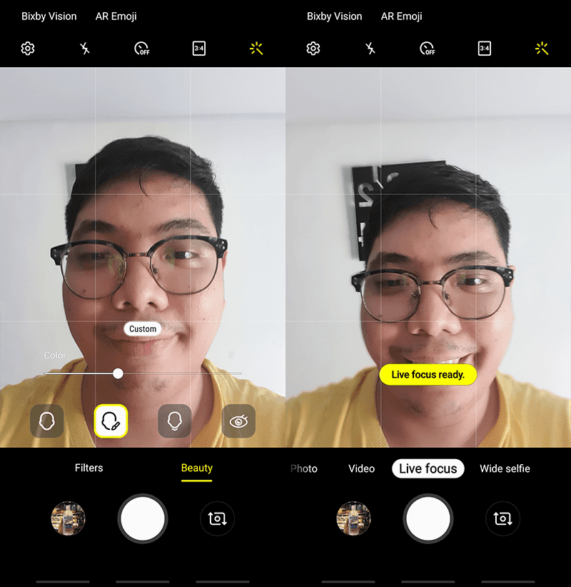 Revamped selfie camera UI