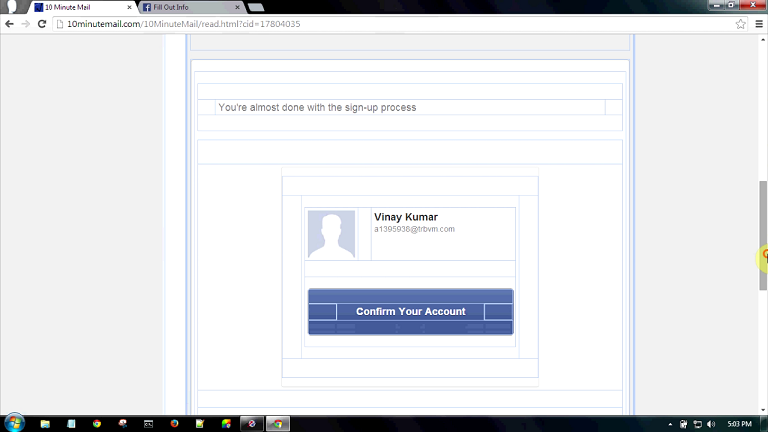 ... make your new facebook id without any permanent email address or