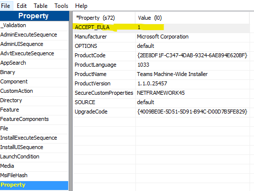 Windows Admin Notebook: Cannot install Teams using  msi package