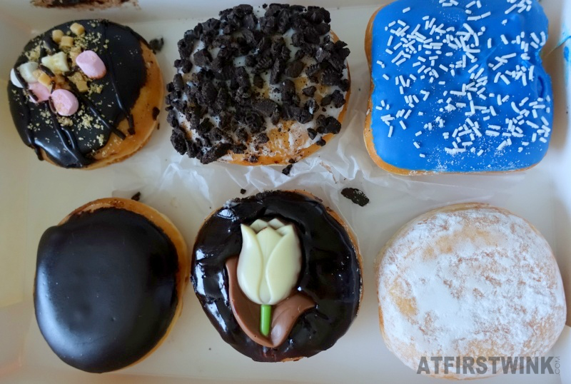Dunkin' Donuts Netherlands: tulip, Boston creme, jelly filled shell, blueberry square, rocky road, and white chocolate oreo