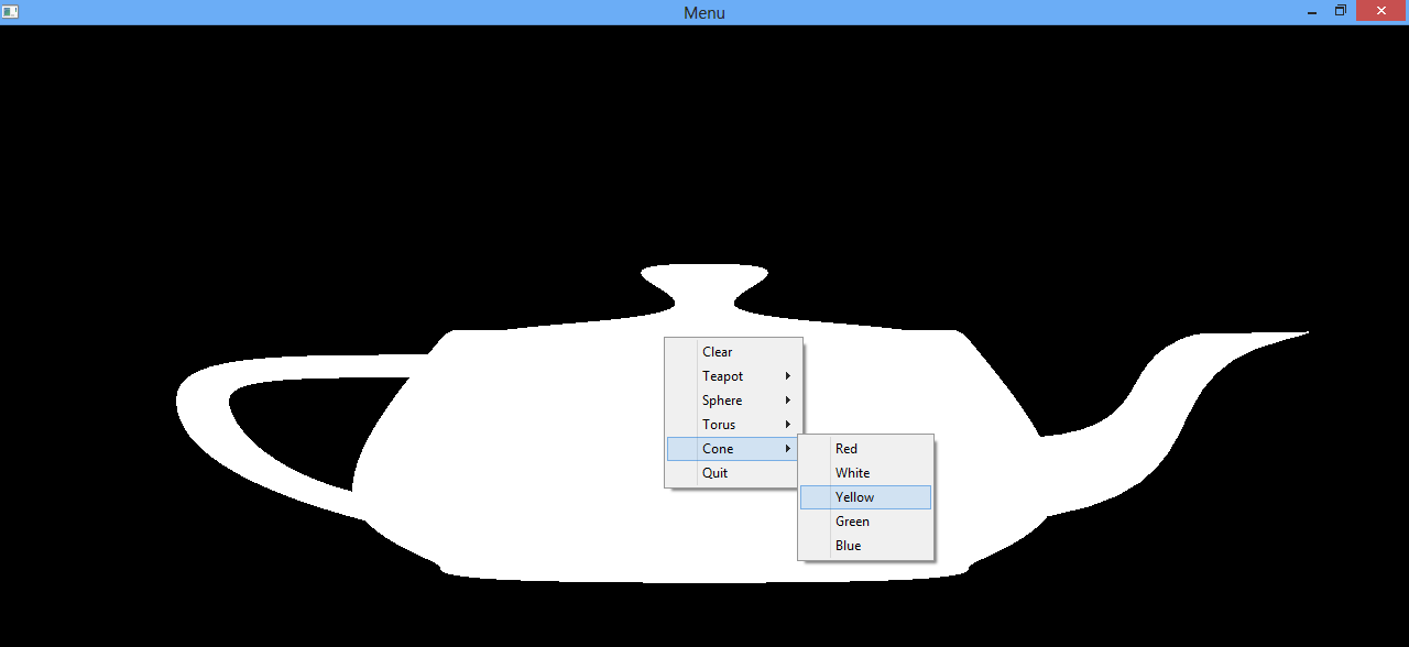 OpenGL Projects: OpenGL Glut Create Menu Example