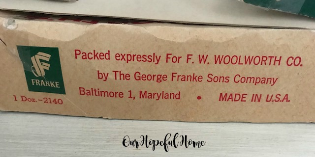 F.W. Woolworth George Franke Sons Company Baltimore Maryland Made in USA