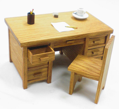 miniature oak desk for dollhouse