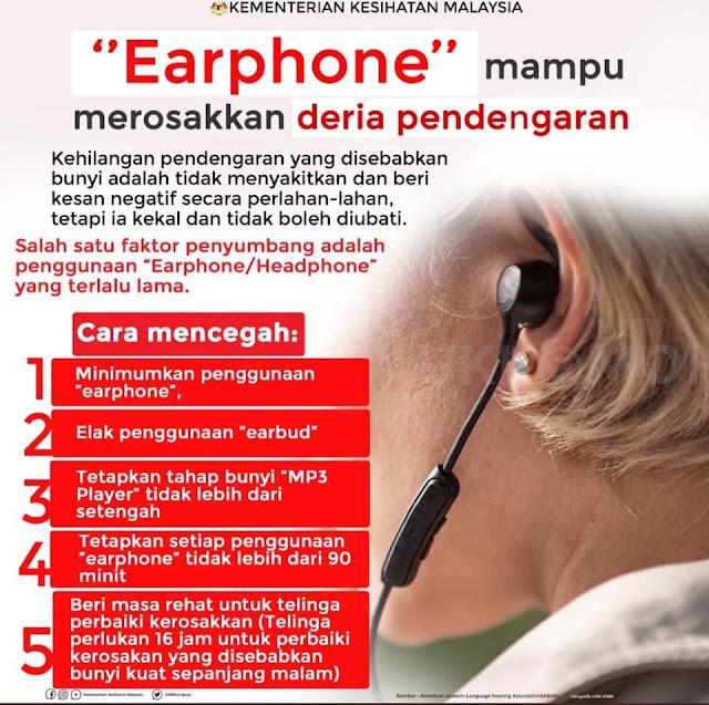 Earphone Mampu Merosakkan Deria Pendengaran, info sihat, info kesihatan, kkm, kementerian kesihatan malaysia